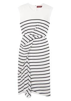 Sies Marjan Woman Anita Asymmetric Draped Striped Silk-crepe Dress White