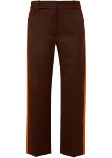 Sies Marjan Woman Bexley Cropped Striped Wool-twill Straight-leg Pants Chocolate