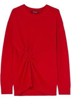 Sies Marjan Woman Brynn Gathered Ribbed Cashmere Sweater Red