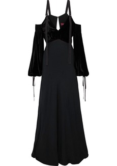Sies Marjan Woman Carter Cold-shoulder Corduroy-paneled Silk And Cotton-blend Gown Black