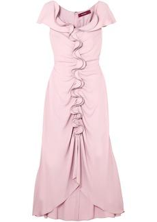 Sies Marjan Woman Portia Ruffled Ruched Crepe Midi Dress Baby Pink