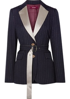 Sies Marjan Terry Belted Satin-trimmed Pinstriped Wool-blend Twill Blazer