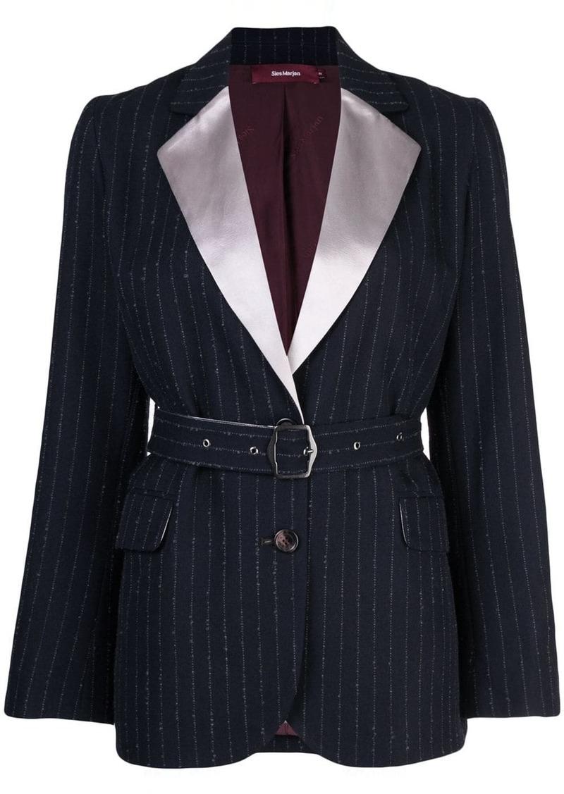 Sies Marjan Terry pinstripe belted blazer