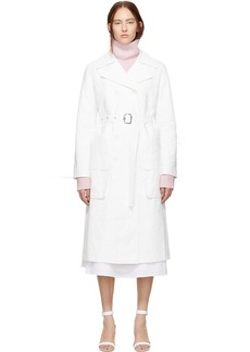 Sies Marjan White Matte Coated Nisa Trench Coat