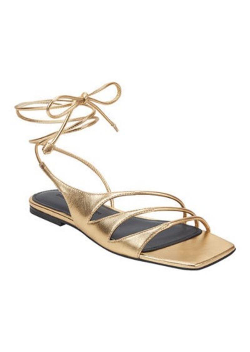 Sigerson Morrison Faune Leather Ankle-Wrap Flat Sandals