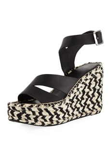 Sigerson Morrison Arien Asymmetric Leather Wedge Sandal