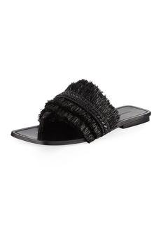 Sigerson Morrison Avis Raffia Flat Slide Sandal