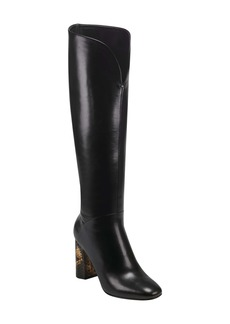 Sigerson Morrison Baretta Snakeskin Embossed Heel Knee High Boot (Women)