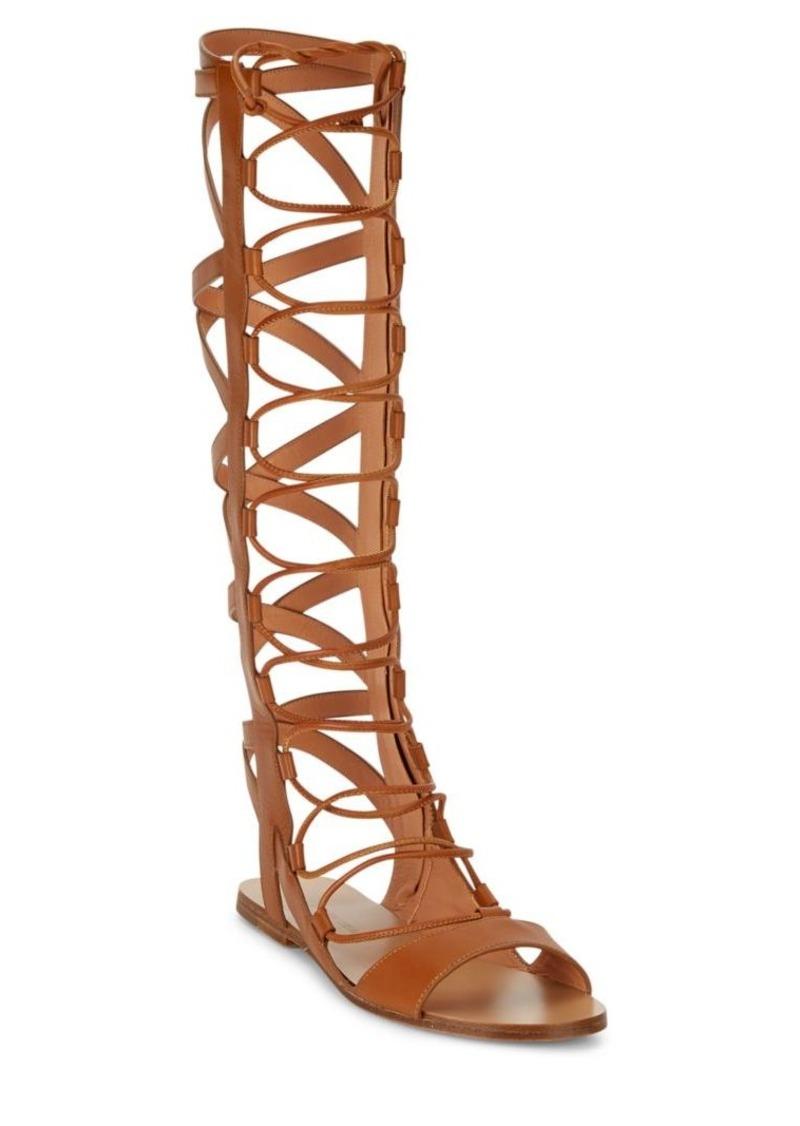 Sigerson Morrison Bright Leather Knee-High Gladiator Sandals