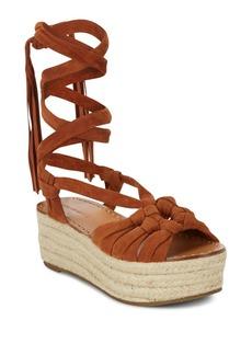 Sigerson Morrison Cosie Lace-Up Suede Espadrille Platform Sandals