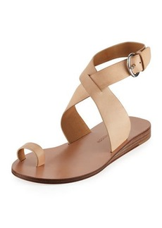 Sigerson Morrison Kyra Leather Ankle-Wrap Sandals