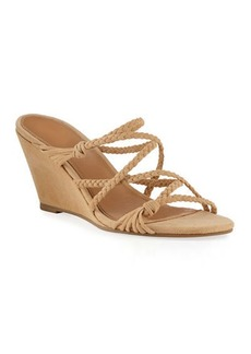 Sigerson Morrison Maddie Braided Suede Wedge Sandals