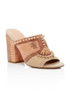 Sigerson Morrison Philip Whipstitch High Heel Slide Sandals
