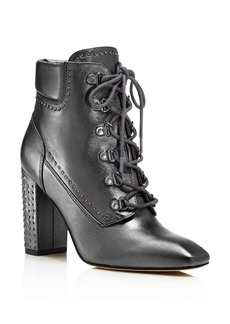 Sigerson Morrison Valora Metallic Studded Lace Up Block Heel Booties - 100% Exclusive