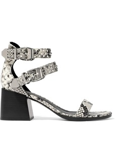 Sigerson Morrison Woman Apple Studded Snake-effect Leather Sandals Animal Print