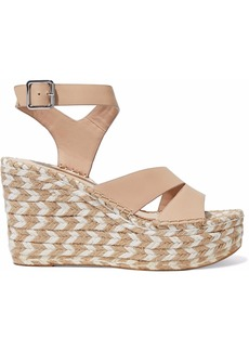 Sigerson Morrison Woman Arien Leather Espadrille Wedge Sandals Sand
