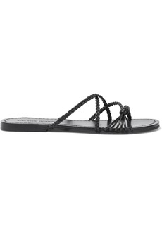 Sigerson Morrison Woman Brock Knotted Braided Leather Sandals Black