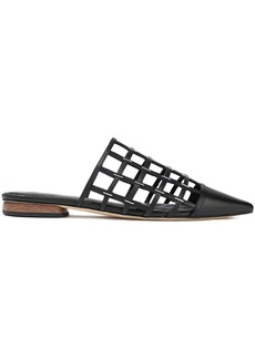 Sigerson Morrison Woman Eddi Cutout Embellished Leather Slippers Black