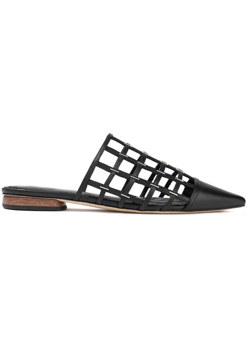 Sigerson Morrison Woman Eddi Cutout Embellished Leather Slippers Black