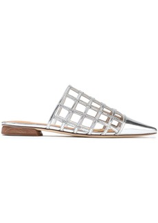 Sigerson Morrison Woman Eddi Embellished Caged Mirrored-leather Mules Silver