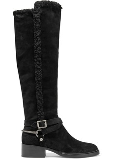 Sigerson Morrison Woman Hardine Shearling-lined Suede Knee Boots Black