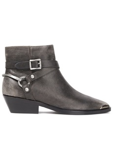 Sigerson Morrison Woman Jade Strap-detailed Leather Ankle Boots Dark Gray