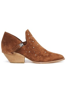 Sigerson Morrison Woman Studded Textured-leather Ankle Boots Brown