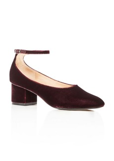 Sigerson Morrison Women's Kairo Velvet Ankle Strap Block Heel Pumps