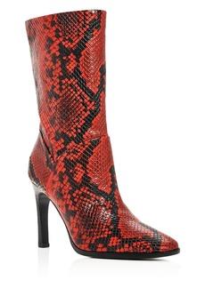 Sigerson Morrison Women's Kiona Snake-Embossed Square-Toe Boots