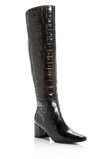 Sigerson Morrison Women's Paislee Croc-Embossed Square-Toe Boots