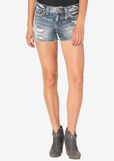 Silver Jeans Co. Berkley Ripped Indigo Wash Cotton Denim Shorts