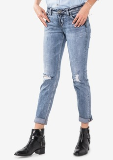 Silver Jeans Co. Juniors' Cotton Sam Ripped Cuffed Boyfriend Jeans