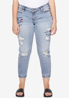 Silver Jeans Co. Plus Size Elyse Stretch Distressed Cropped Jeans