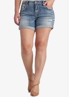 Silver Jeans Co. Trendy Plus Size Sam Ripped Denim Shorts