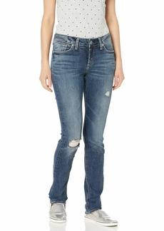 Silver Jeans Co. Women's Elyse Curvy Fit Mid Rise Straight Leg Jean destructed indigo 24W X 30L