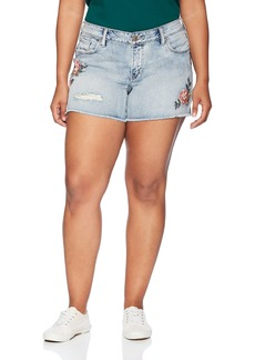Silver Jeans Co. Women's Plus Size Aiko Fit Mid Rise Shorts  W
