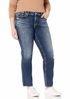 Silver Jeans Co. Women's Plus Size Elyse Curvy Fit Mid Rise Straight Leg Jean  18W X 30L