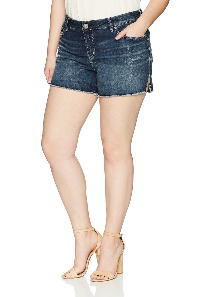 Silver Jeans Co. Women's Plus Size Elyse Relaxed Fit Mid Rise Shorts Dark Indigo wash