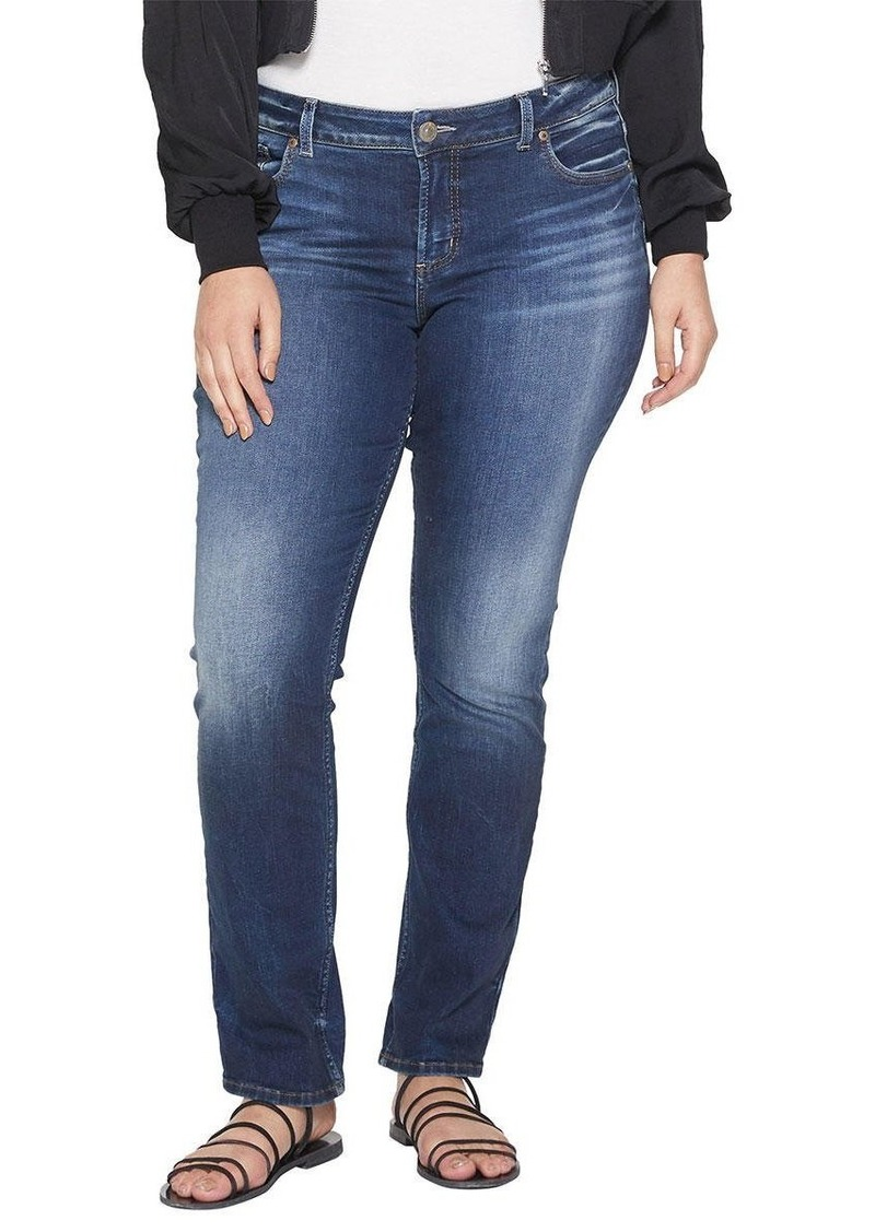 Silver Jeans Co. Women's Plus Size Elyse Relaxed Fit Mid Rise Straight Leg Jeans Medium Dark wash
