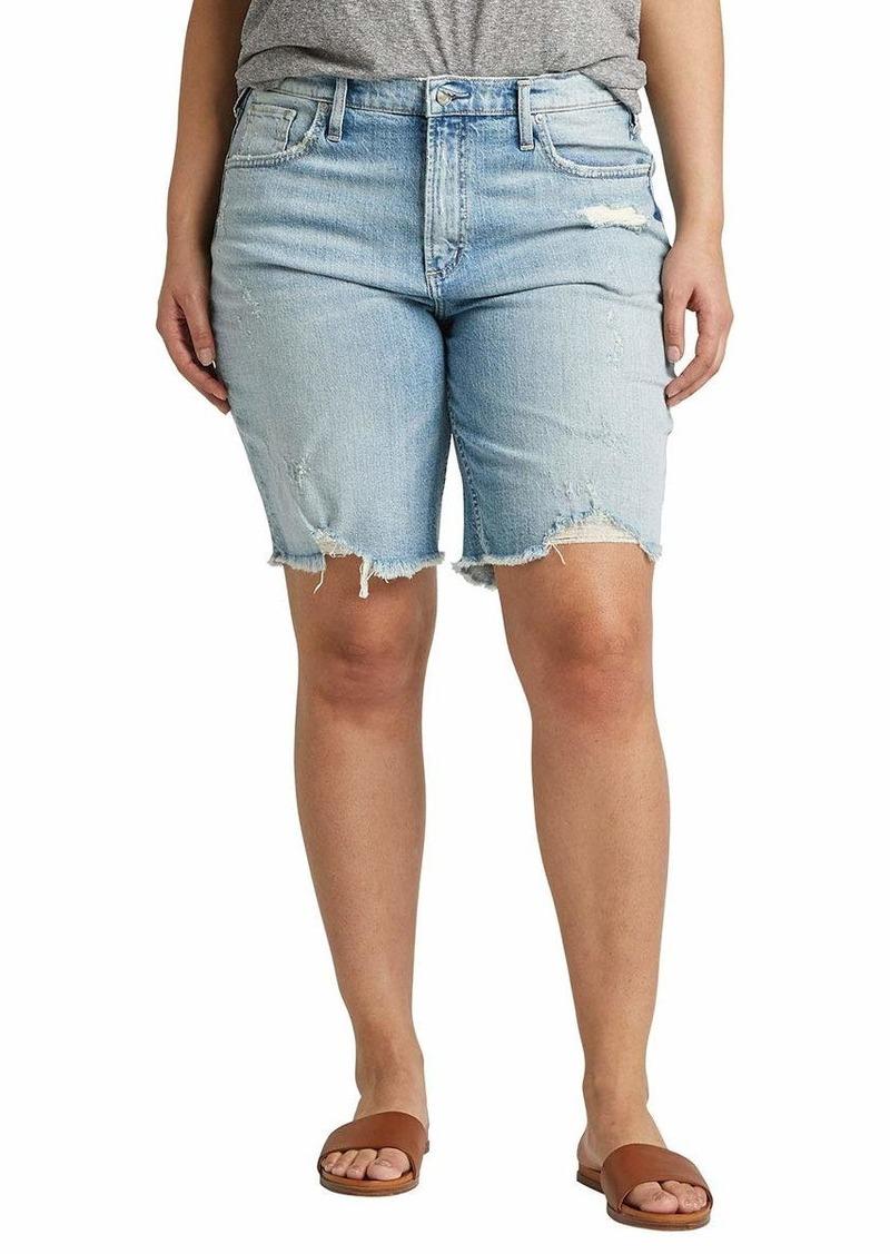 Silver Jeans Co. Women's Plus Size Frisco High-Rise Vintage Knee Short Light