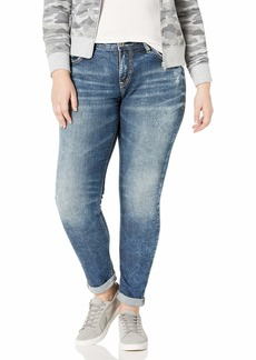 Silver Jeans Co. Women's Plus Size Kenni Mid Rise Skinny Leg Girlfriend Jean  22W X 27L