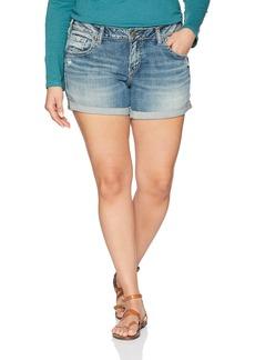 Silver Jeans Co. Women's Plus Size Sam Mid Rise Boyfriend Shorts  W