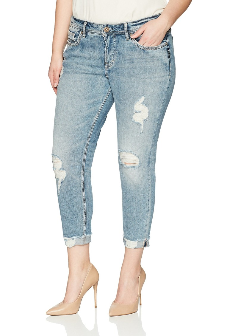 a61e6210 Co. Women's Plus Size Suki Curvy Fit Mid Rise Skinny Crop Jeans. Silver  Jeans