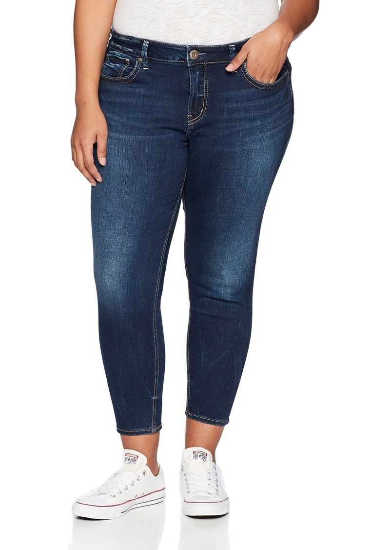 64f91ecc Women's Plus Size Suki Curvy Fit Mid Rise Skinny Crop Jeans. Silver Jeans