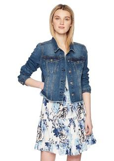 Silver Jeans Co. Women's Saylor Cropped Hooded Denim Vest  L