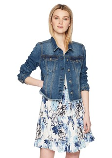 Silver Jeans Co. Women's Saylor Cropped Hooded Denim Vest  M