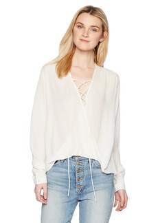 Silver Jeans Co.. Women's Serlina Lace-up Peasant Top  L
