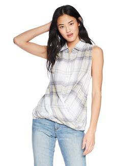 Silver Jeans Co.. Women's Simone Twist-Front Plaid Tank  L