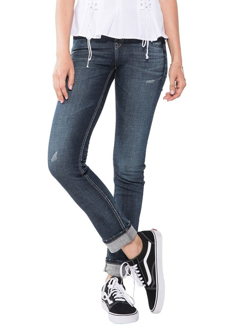 Silver Jeans Co. Women's Suki Curvy Fit Mid-Rise Ankle Slim Jeans with Cuff