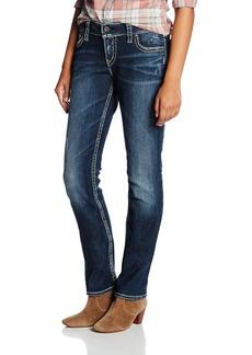 Silver Jeans Co. Women's Suki Curvy Fit Mid Rise Straight Leg Jeans Vintage Dark Wash with Lurex Stitch 29W x 34L